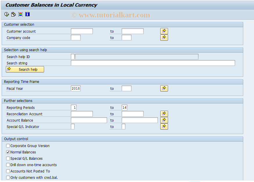 SAP TCode F.23 - A/R: Account Balances