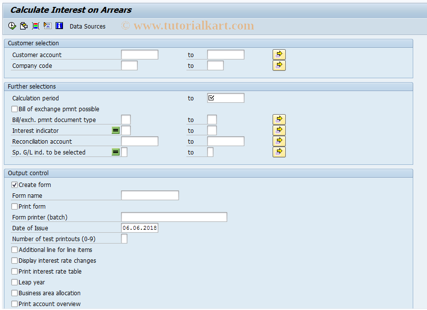 SAP TCode F.2A - A/R Overdue Int.: Post (Without OI)