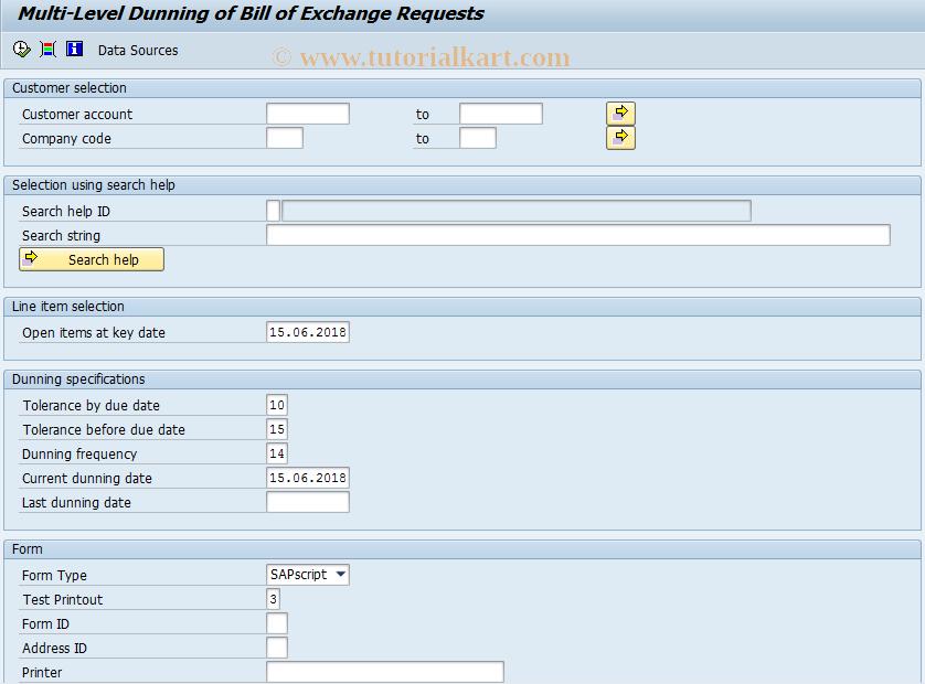 SAP TCode F.70 - Bill/Exchange Pmnt Request Dunning