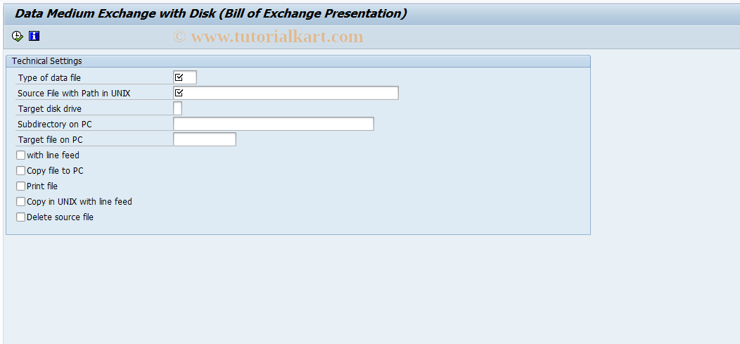 SAP TCode F.71 - DME with Disk: B/Excha. Presentation