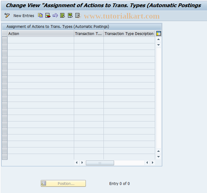 SAP TCode F107_A2MT - Assign Transaction Types to Actions