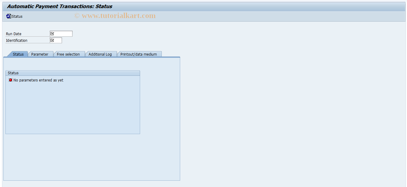 SAP TCode F110 - Parameters for Automatic Payment