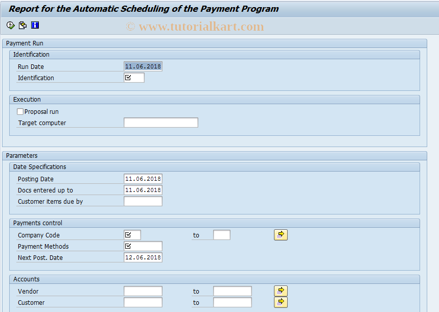 SAP TCode F110S - Automatic Scheduling of Payment Prog