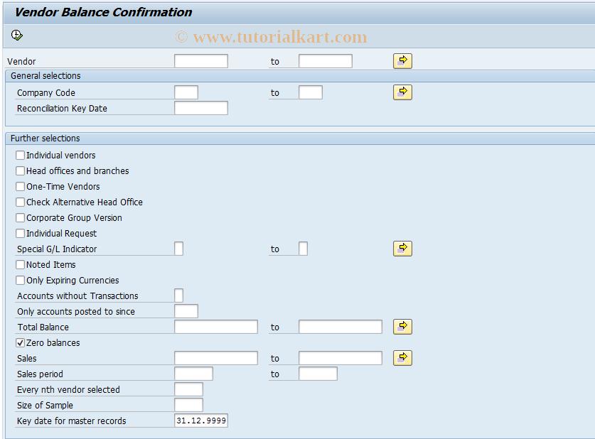 F18P SAP Tcode : Bal  Confirmation (Vendor) as PDF