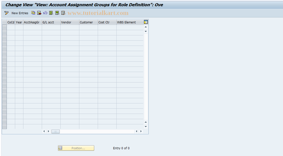SAP TCode F8+4 - Maintain Account Assignment Groups