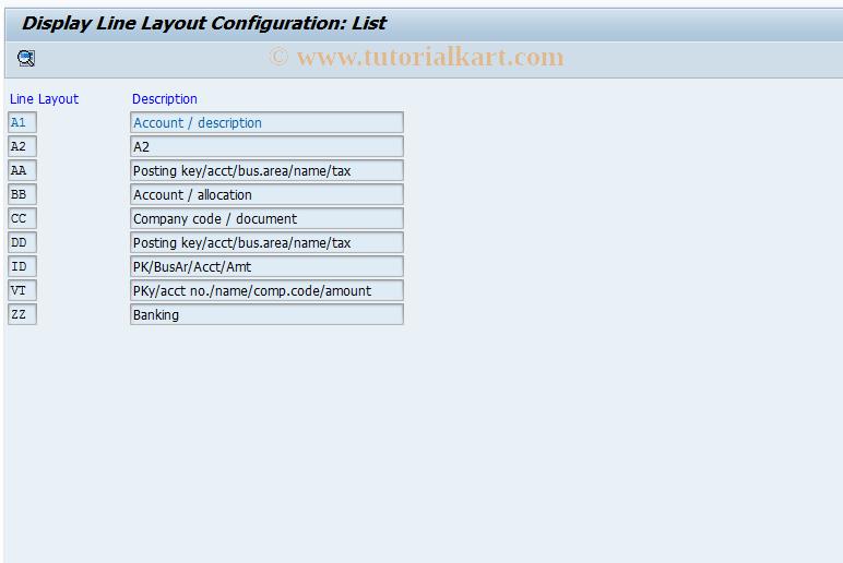 SAP TCode FAKA - Config.: Show Display Format