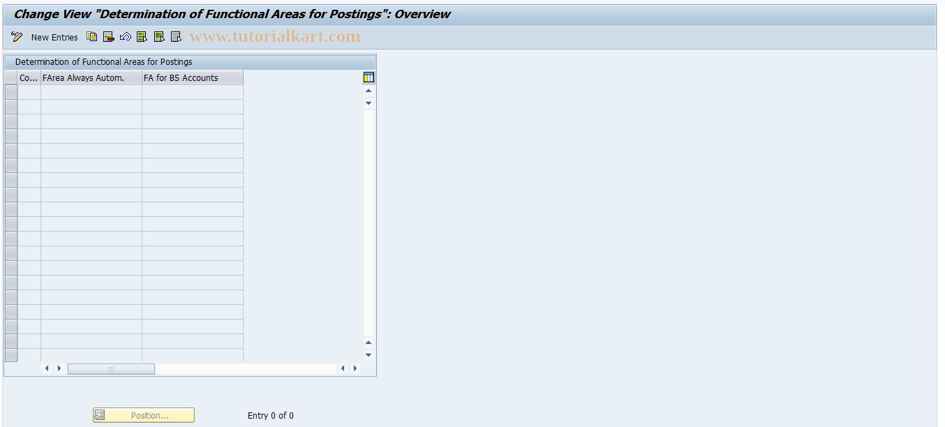 SAP TCode FAREA_MODE - Setting: Determination of Funct.Area