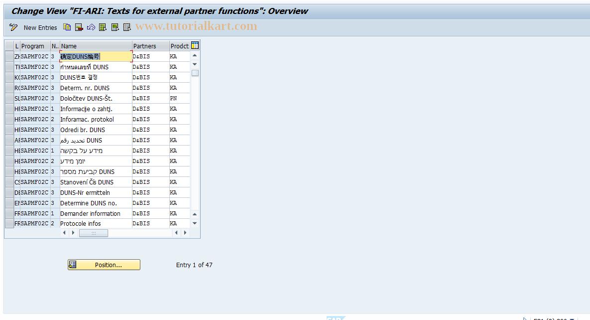 SAP TCode FARZ - Table T061V