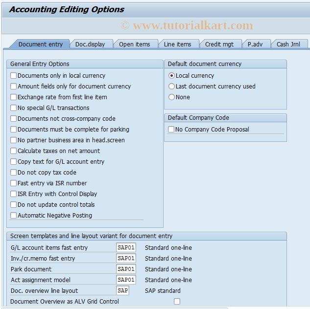 FB00 SAP Tcode : Accounting Editing Options Transaction Code