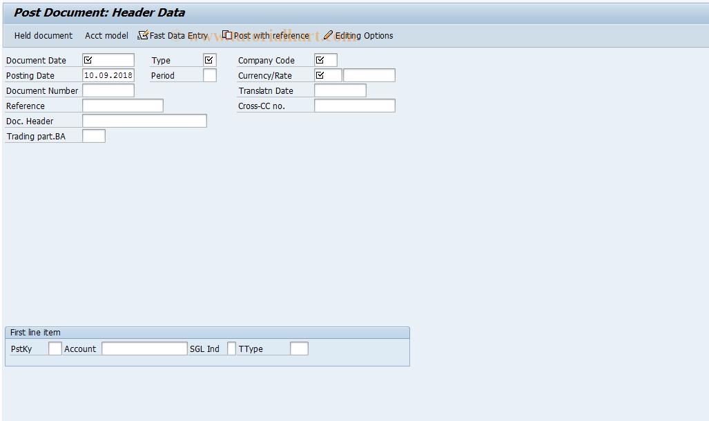 SAP TCode FB01 - Post Document