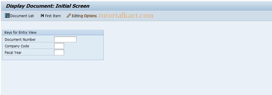 SAP TCode FB03 - Display Document