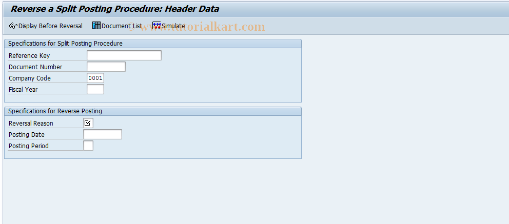 SAP TCode FB08S - Reverse Split Document