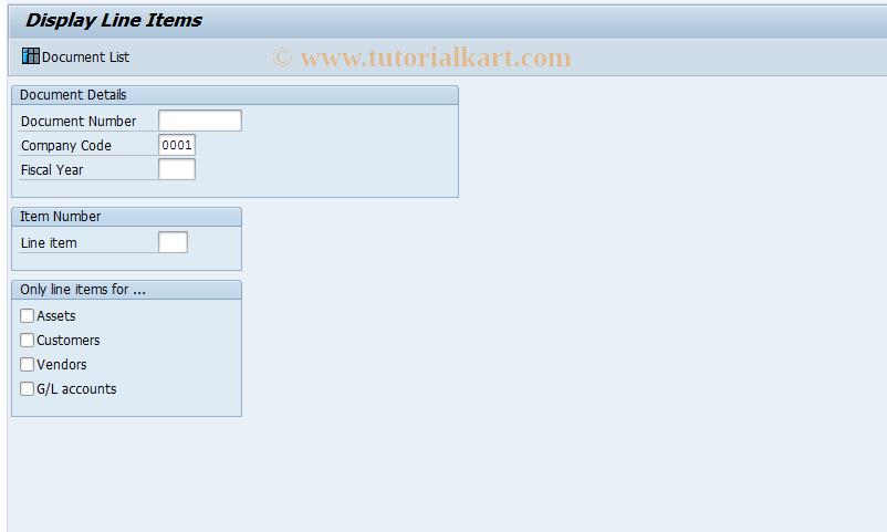 SAP TCode FB09D - Display Line Items