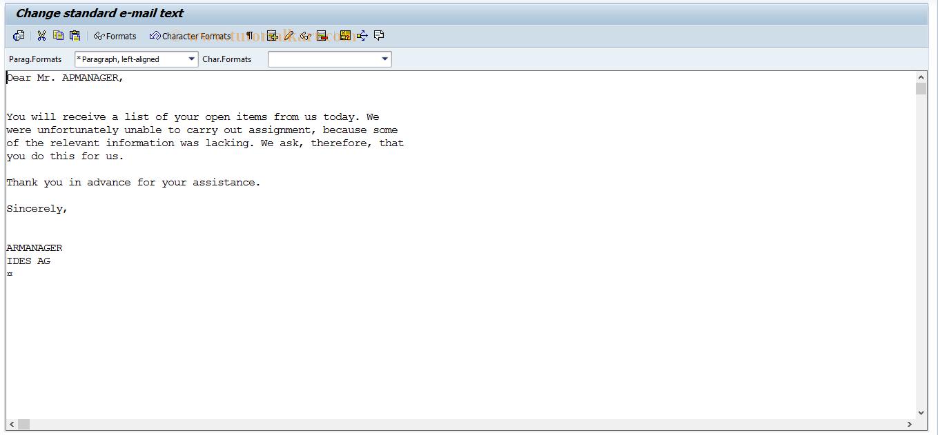 SAP TCode FB18 - Maintain Standard Mail Texts