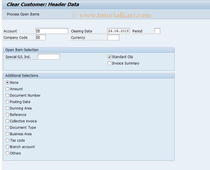 SAP TCode FB1D - Clear Customer