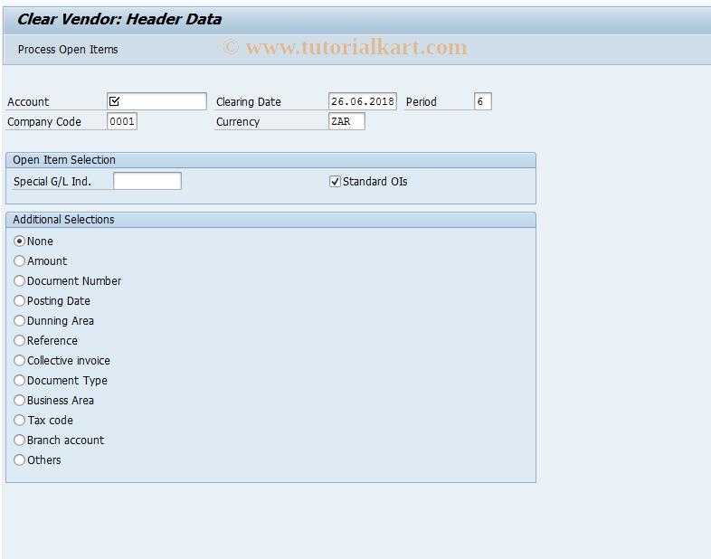 SAP TCode FB1K - Clear Vendor