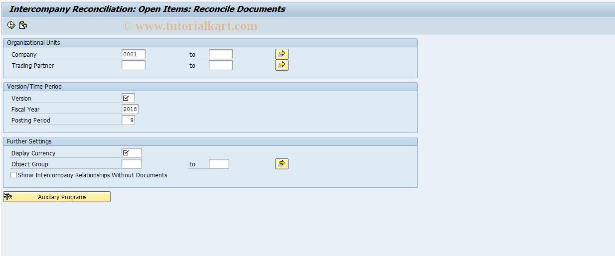 SAP TCode FB2E - Reconciliation btwn affiliated comps