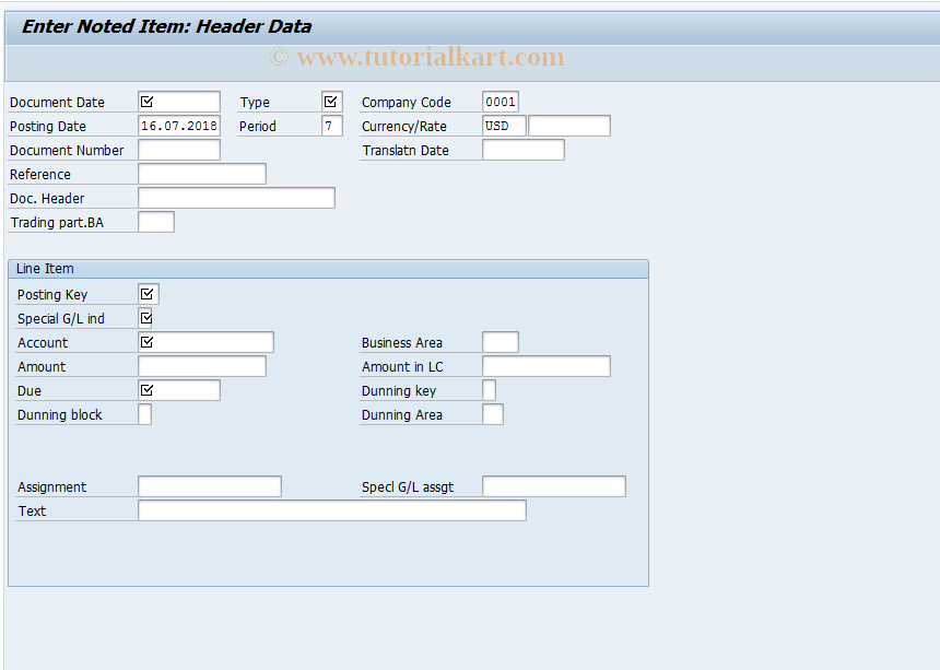 SAP TCode FB31 - Enter Noted Item