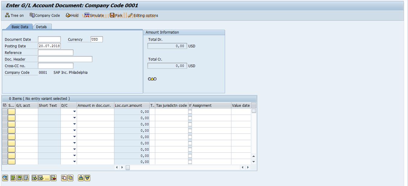 SAP TCode FB50 - G/L Account Pstg: Single Screen Transaction