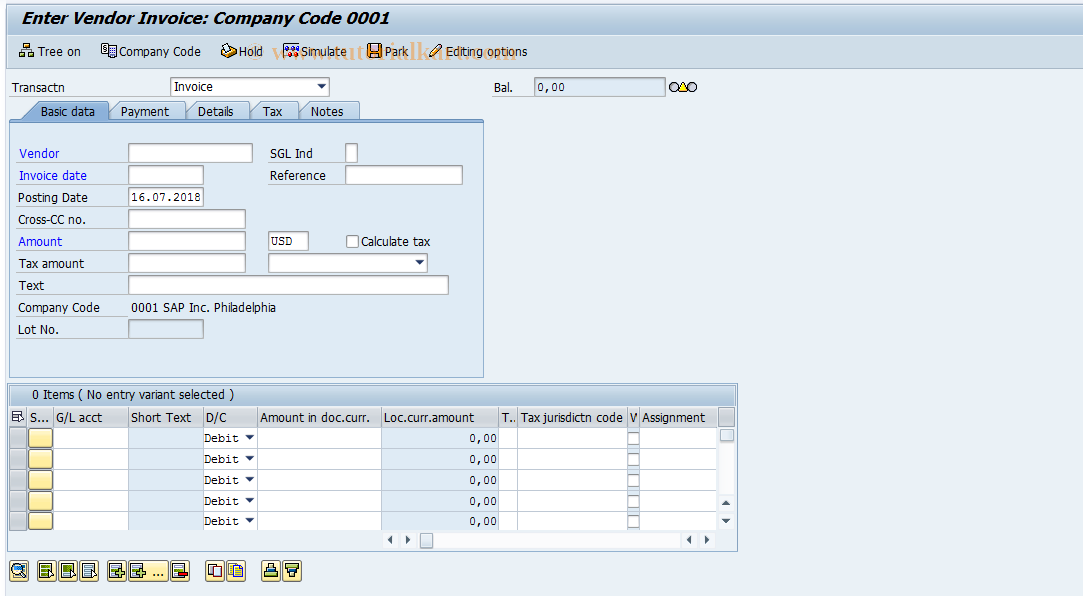 FB60 SAP Tcode : Enter Incoming Invoices Transaction Code