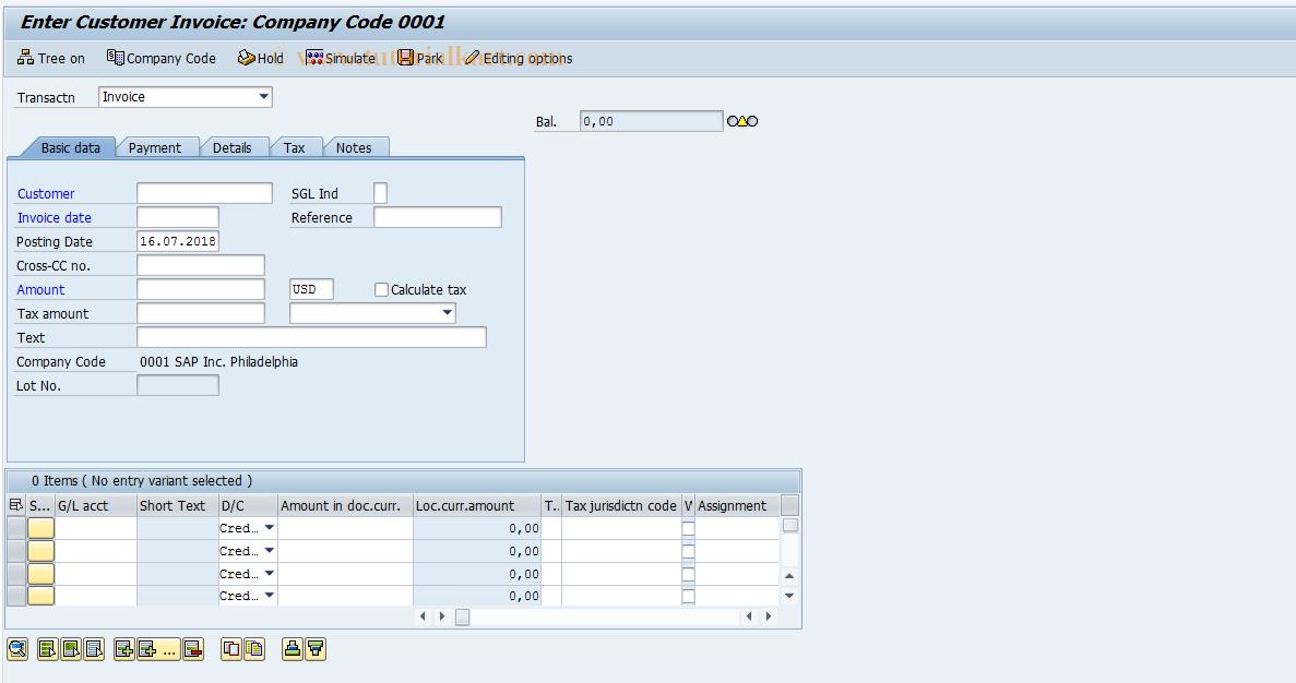 SAP TCode FB70 - Enter Outgoing Invoices