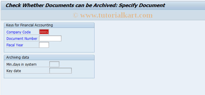 SAP TCode FB99 - Check if Documents can be Archived