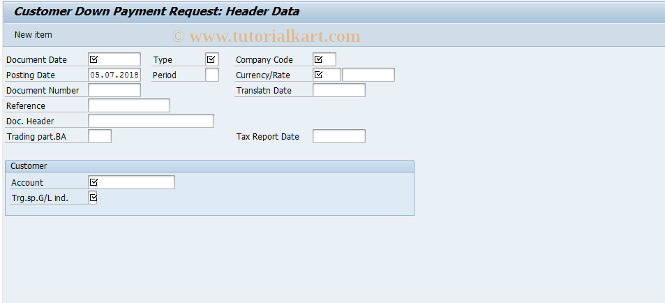 SAP TCode FBA1 - Customer Down Payment Request
