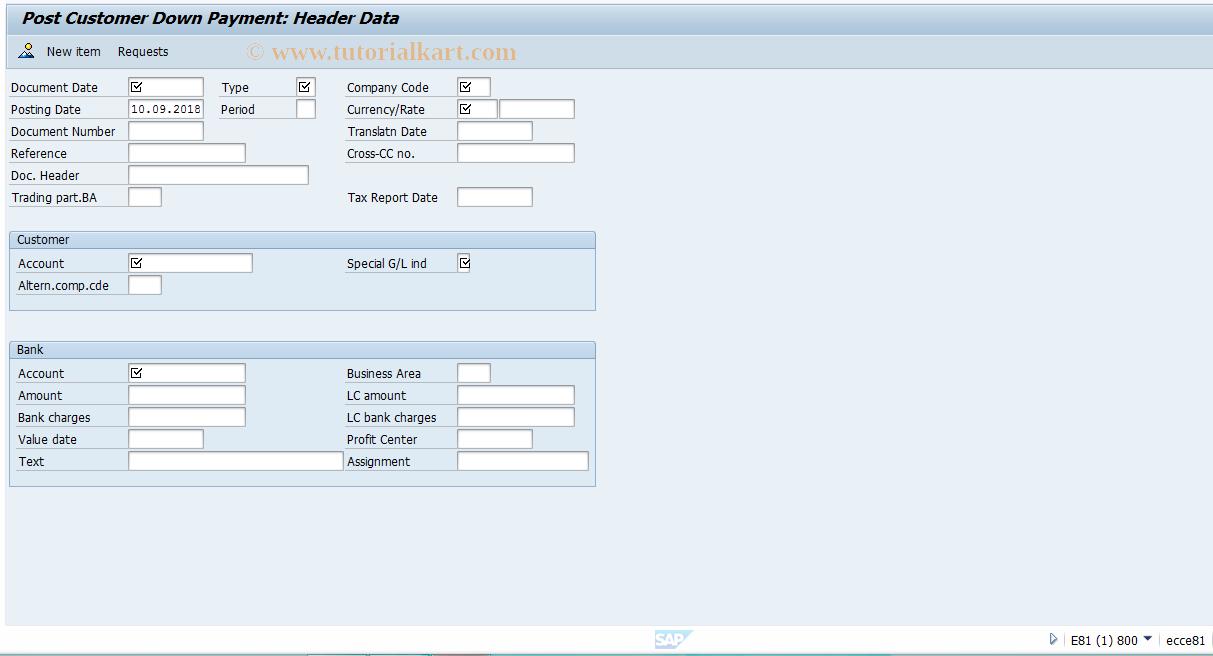 SAP TCode FBA2 - Post Customer Down Payment