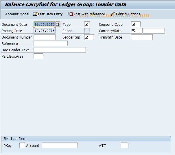 SAP TCode FBCB - Balance Carryfwd for Ledger Group