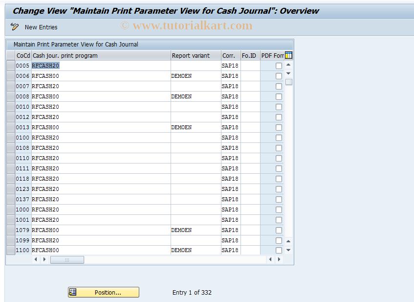 FBCJC3 SAP Tcode : C FI Maintain Tables TCJ_PRINT