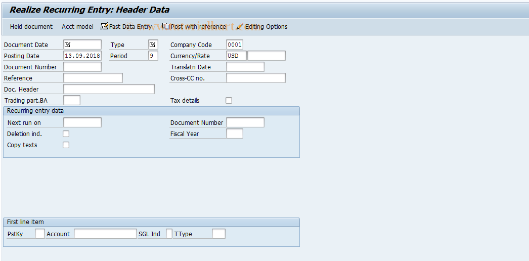 SAP TCode FBD5 - Realize Recurring Entry