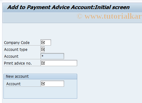SAP TCode FBE7 - Add to Payment Advice Account