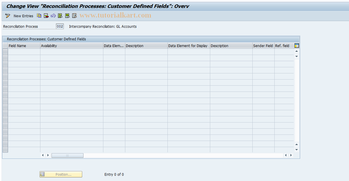 SAP TCode FBIC005 - Create Additional Fields