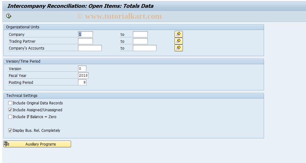 SAP TCode FBIC017 - Reconciliation: Totals Records