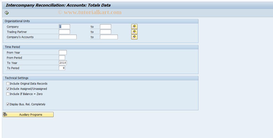 SAP TCode FBIC018 - Reconciliation: Totals Records