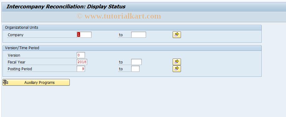 SAP TCode FBIC022 - Reconciliation: Status
