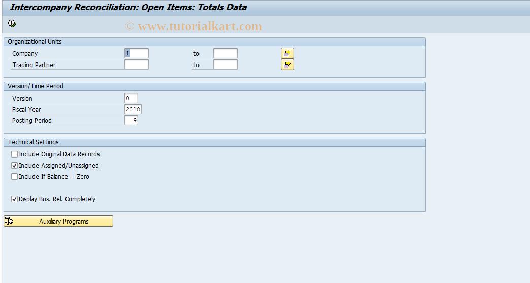 SAP TCode FBIC026 - Reconciliation: Totals Records