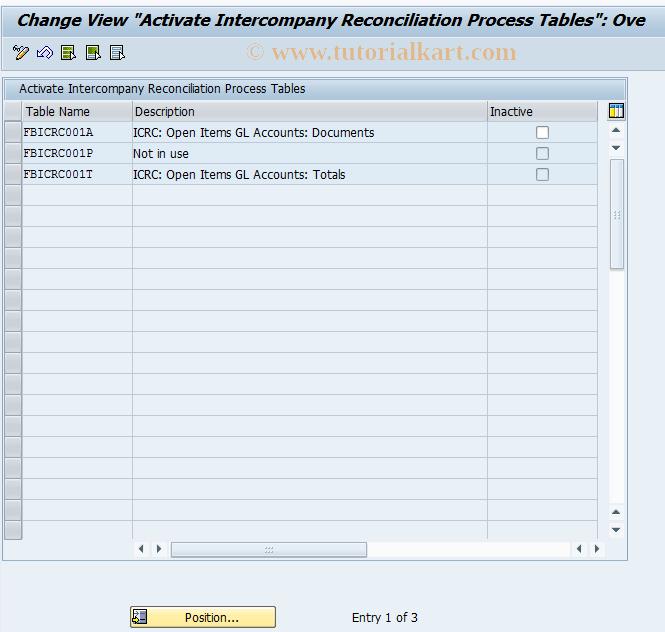 SAP TCode FBIC027 - Activate Process Tables