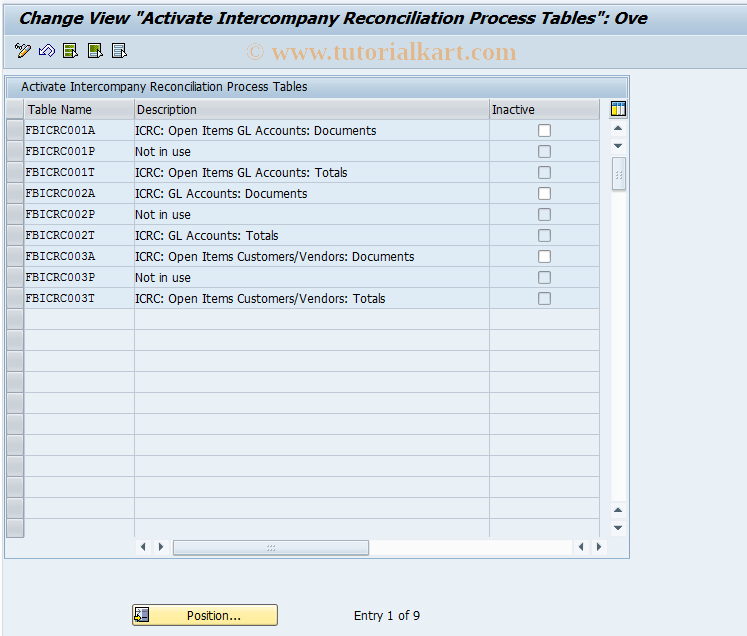 SAP TCode FBIC031 - Activate Process Tables