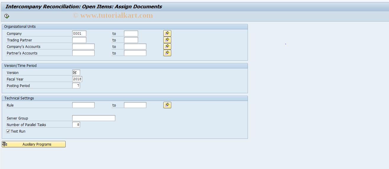 SAP TCode FBICA1 - GL Open Items: Document Assignment