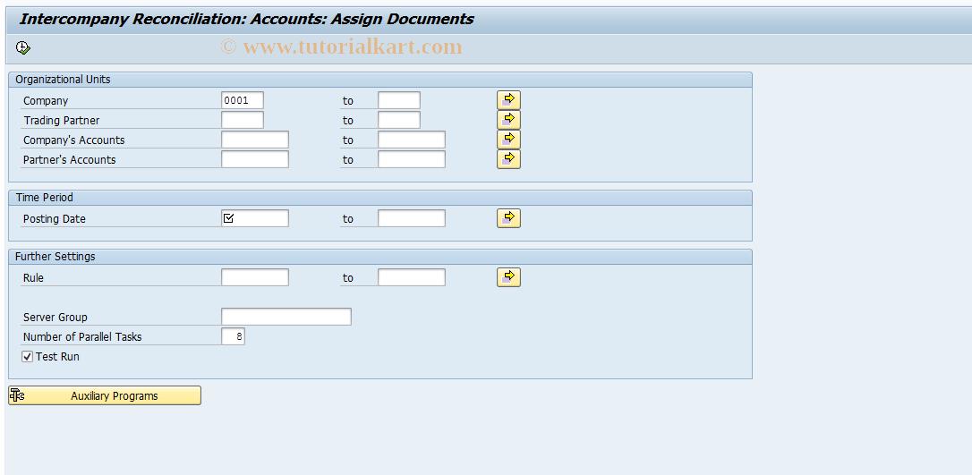 SAP TCode FBICA2 - GL Accounts: Document Assignment