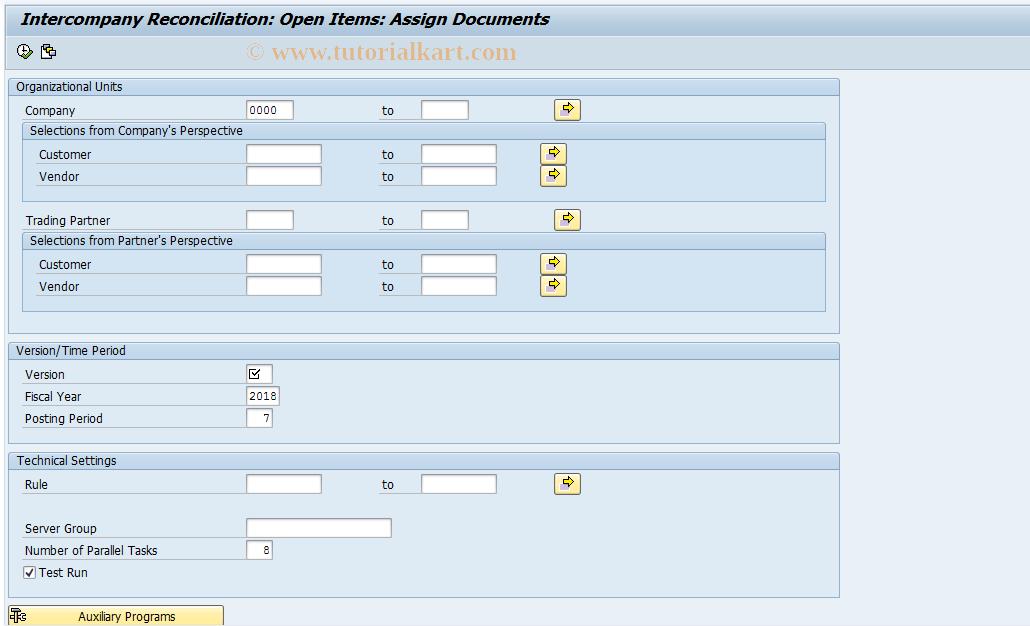 SAP TCode FBICA3 - Customer/Vendor: Document Assignment