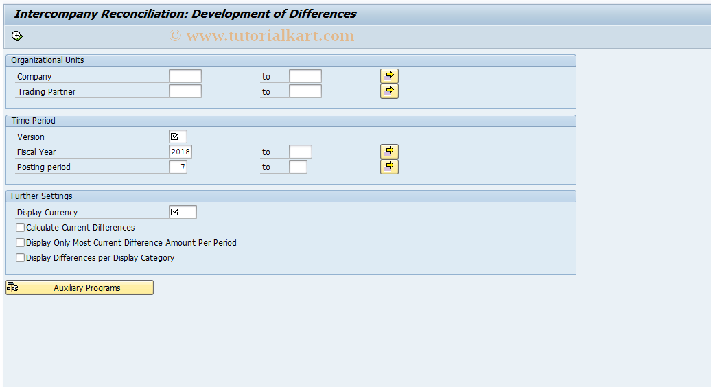 SAP TCode FBICD2 - GL Accounts: Differences Development