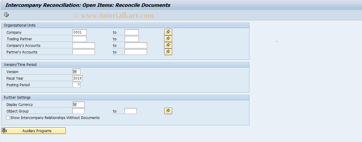 SAP TCode FBICR1 - GL Open Items: Reconcile Documents