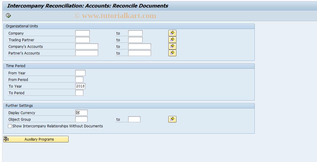 SAP TCode FBICR2 - GL Accounts: Reconcile Documents