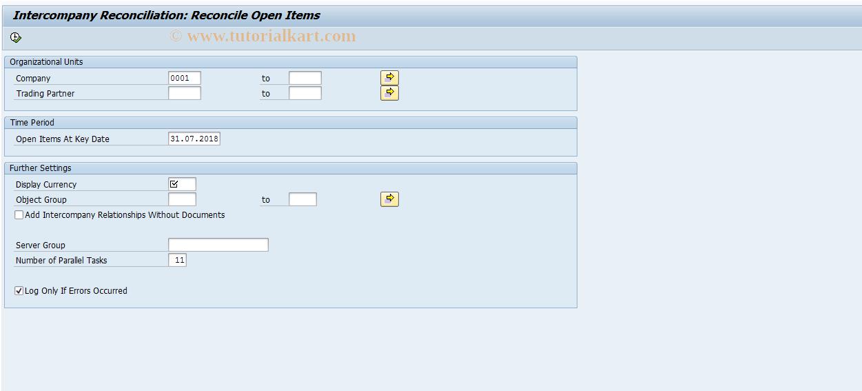SAP TCode FBICR3L - Intercompany Reconciliation (Local)