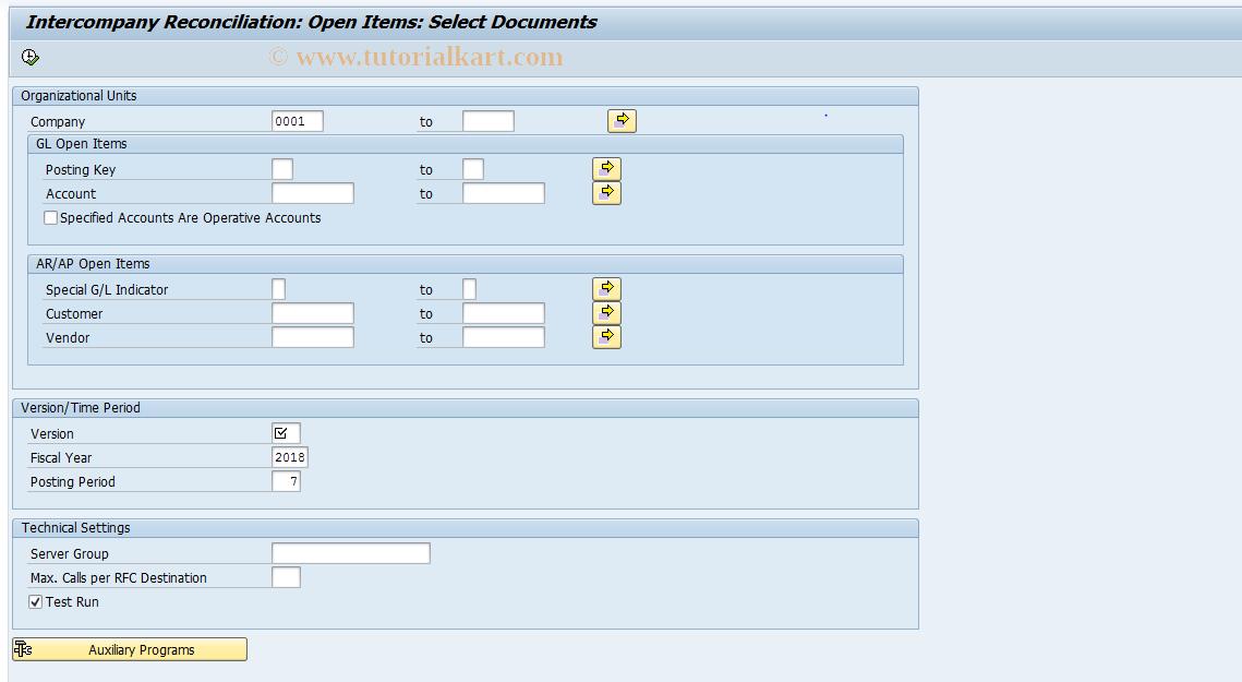 SAP TCode FBICS1 - GL Open Items: Select Documents