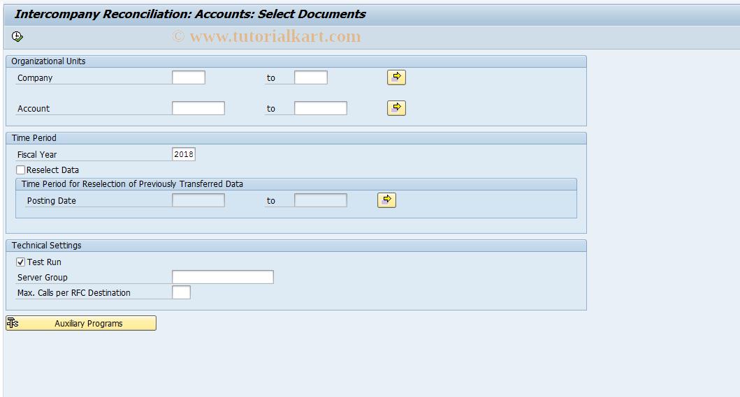 SAP TCode FBICS2 - GL Accounts: Select Documents