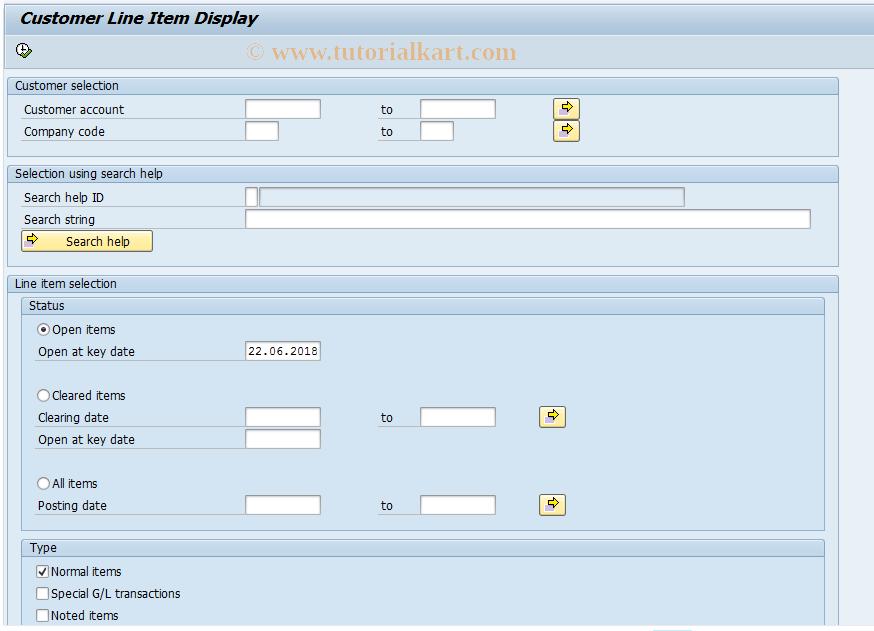 SAP TCode FBL6 - Change Customer Line Items