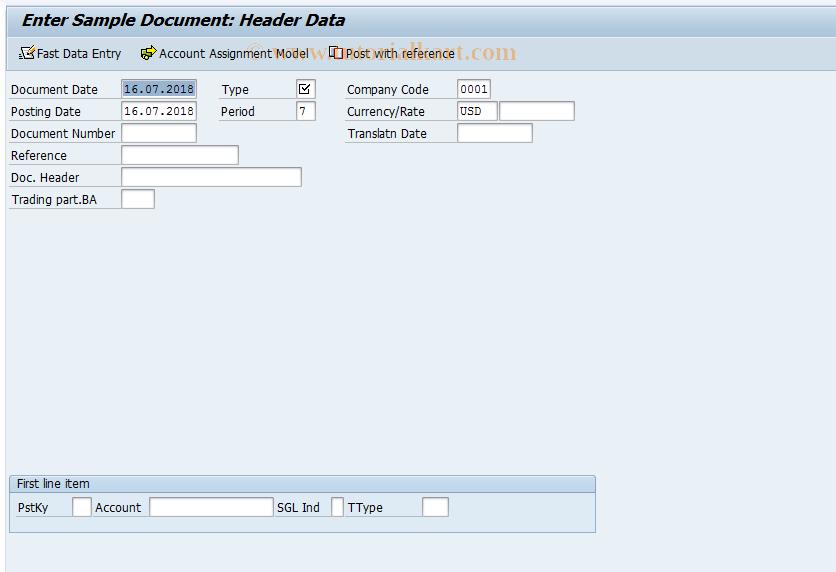 SAP TCode FBM1 - Enter Sample Document